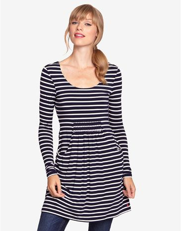 Joules ALEXI Womens Printed Tunic, Navy. Pockets. Stripes.