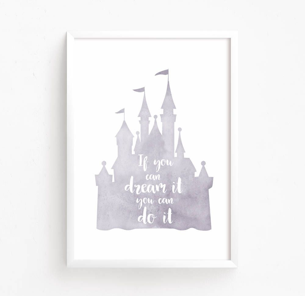 disney castle watercolor printable ( disney nursery quote rapunzel
