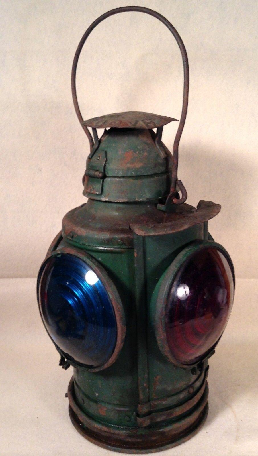 Antique vintage handland railroad lantern st louis 4 lens 1 red antique vintage handland railroad lantern st louis 4 lens 1 red 3 blue lantern light fixturelantern arubaitofo Gallery