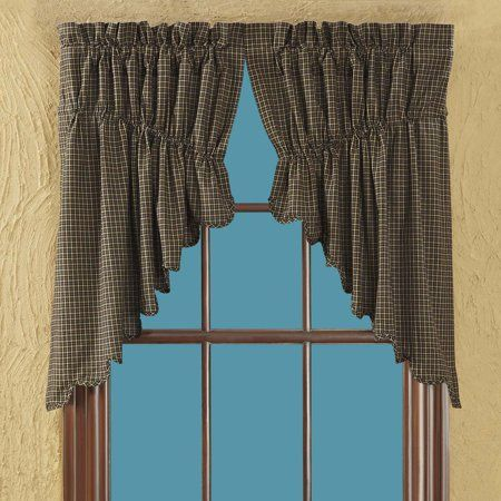 Country Black Primitive Kitchen Curtains Prim Grove Plaid ...