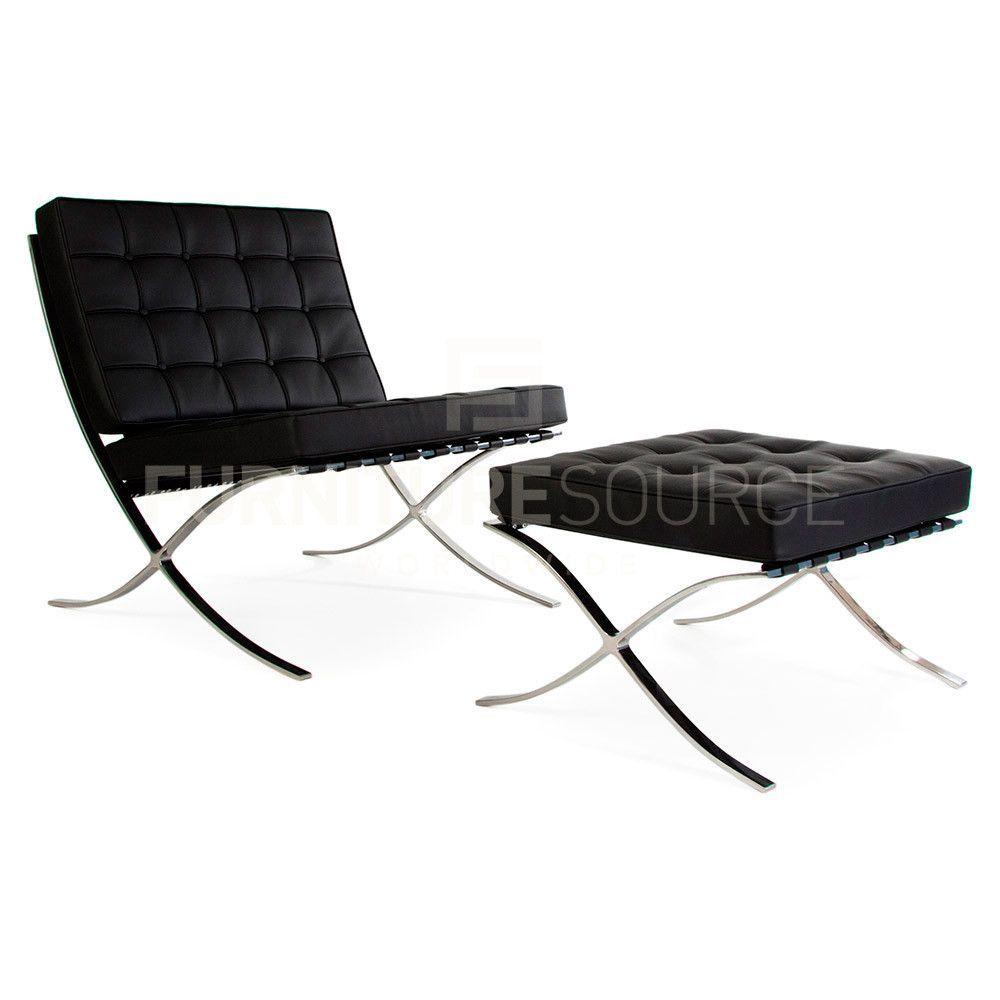 White Barcelona Style Chair. Barcelona Style Pavillion Chair \u0026 Ottoman  Set In Premium Genuine
