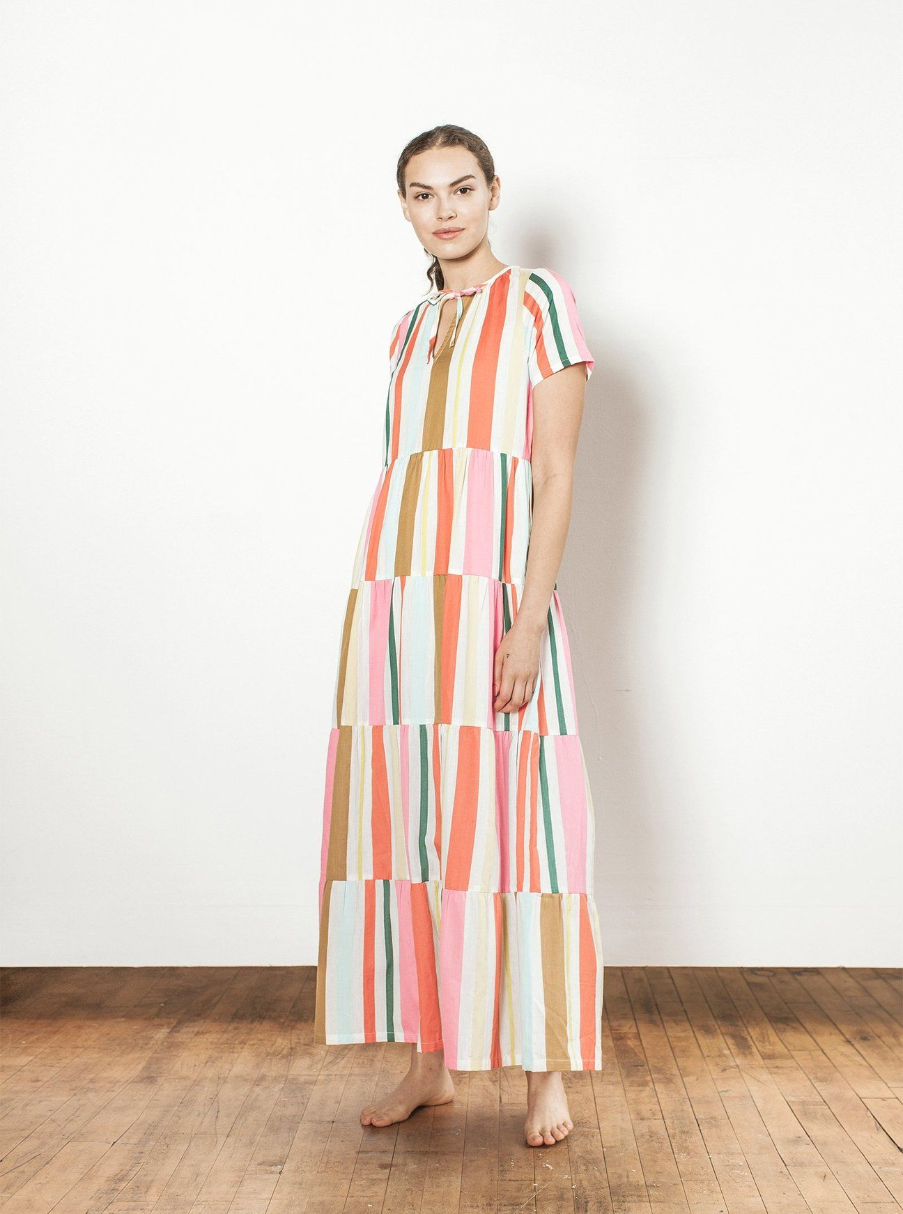 An Ace And Jig Tiered Maxi Length V Neck Dress With Short Dolman Sleeves And A Drawstring Necktie Made In Indi Sewing Summer Dresses Ace And Jig Short Dresses