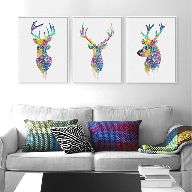 Cheap wall art buy quality animal pictures directly from china picture canvas suppliers triptych watercolor deer head poster print abstract animal