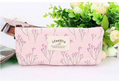 Cute Kawaii Floral Flower Canvas Zipper Pencil Cases Lovely Fabric Flower Tree Pen Bags School Supplies Free shipping 1151 is part of School Organization Pencil Case - Type Pencil CaseCategory Pencil BagUse Schools & OfficesNovelty NoModel Number NOMaterial Other