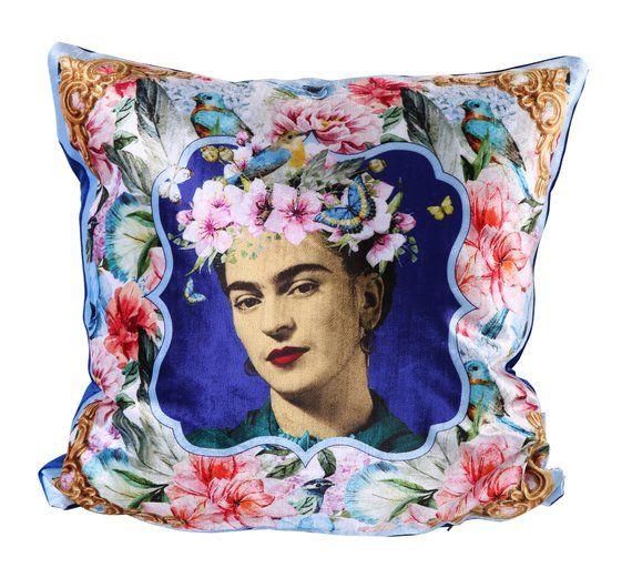 Pillow blue velvet mexican tropical floral plant leaf modern stylish decorative pillow cover pillow