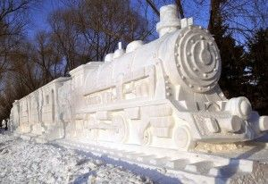 Train Snow Sculpture