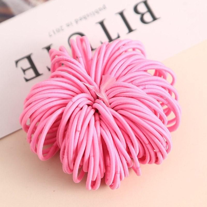 100pcs lot 3CM Cute Girl Ponytail Hair Holder Hair Accessories Thin Elastic  Rubber Band For Kids Colorful Hair Ties 277bb77d48d