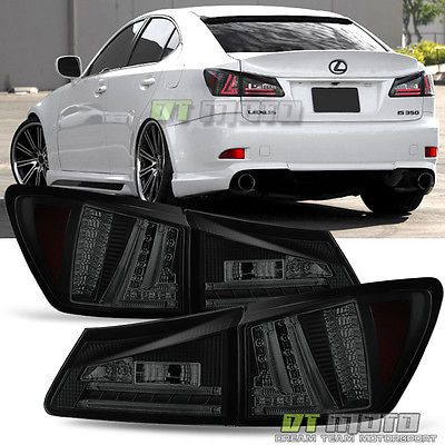 Black Smoked 2006 2008 Lexus Is250 Is350 Led Rear Brake Tail Lights Taillamps Lexus Is250 Lexus Black Smoke