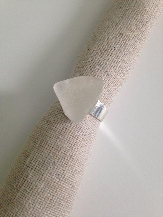 Lake Huron Beach Glass Adjustable Ring by GreatLakesRockShop