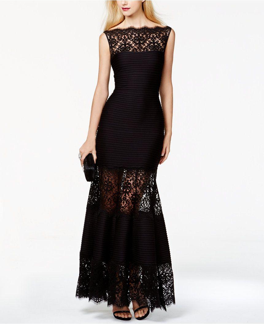 d2b8b34b6d15 Tadashi Shoji Lace-Inset Evening Gown - Dresses - Women - Macy s ...