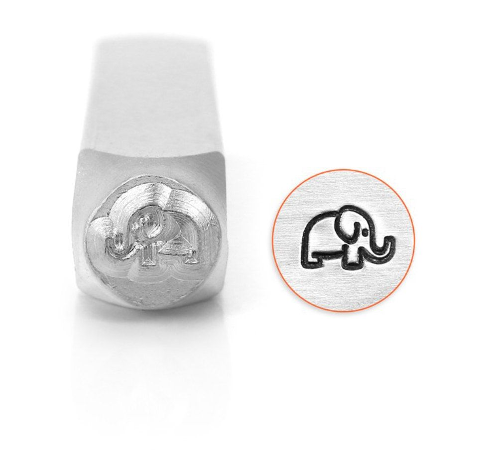 Elephant Metal StampMetal Design StampImpressArt 6mm Design Stamp