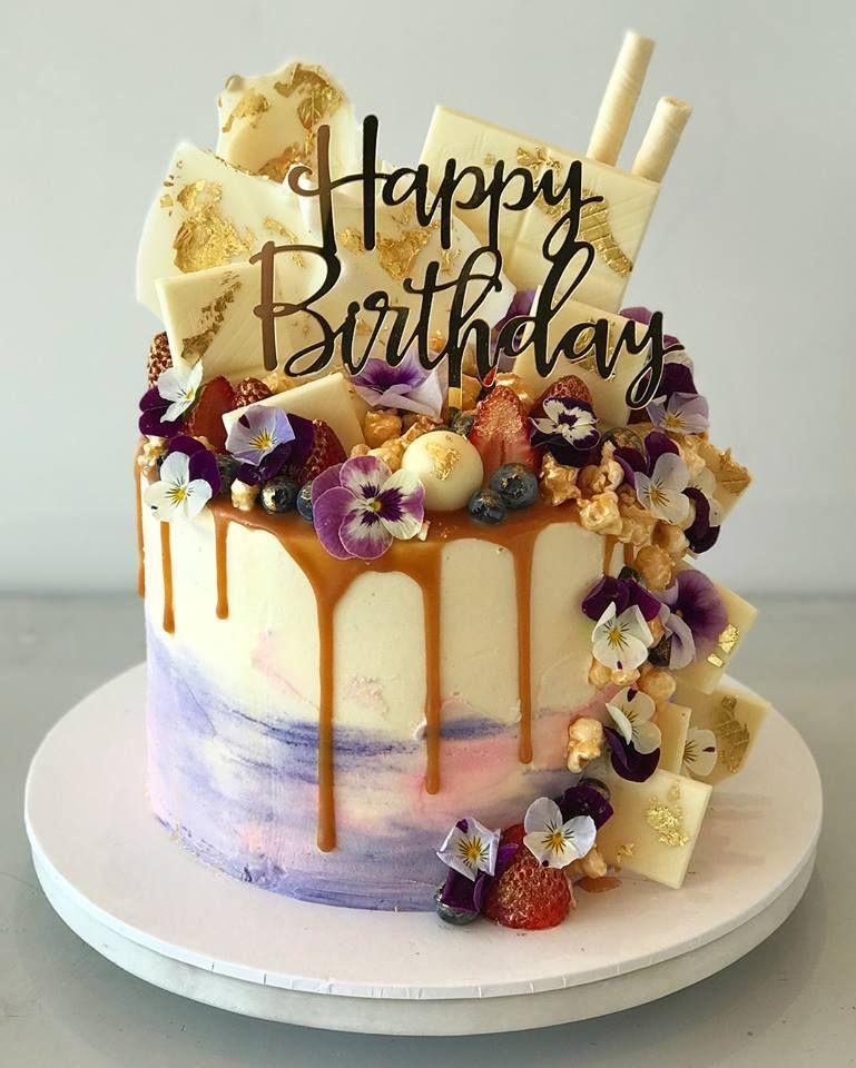 Happy Birthday Acrylic Gold Mirror Birthday Party Cake Topper