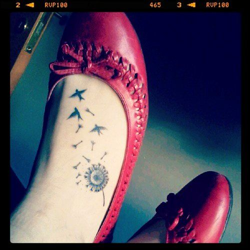 Cute Dandelion Tattoos On Foot