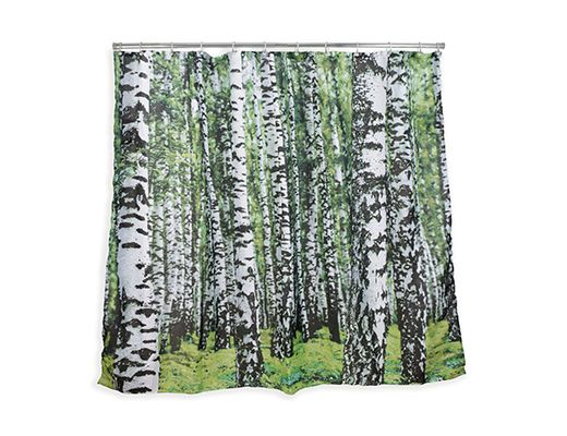Kikkerland Design Inc Products Birch Shower Curtain With Green