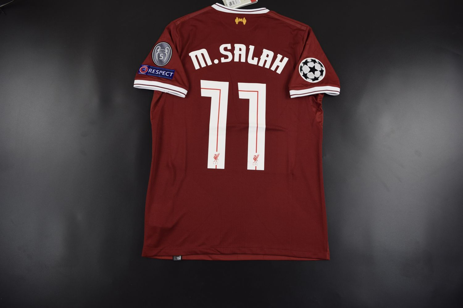 442294958 Liverpool home Jersey  11 SALAH with UEFA patch