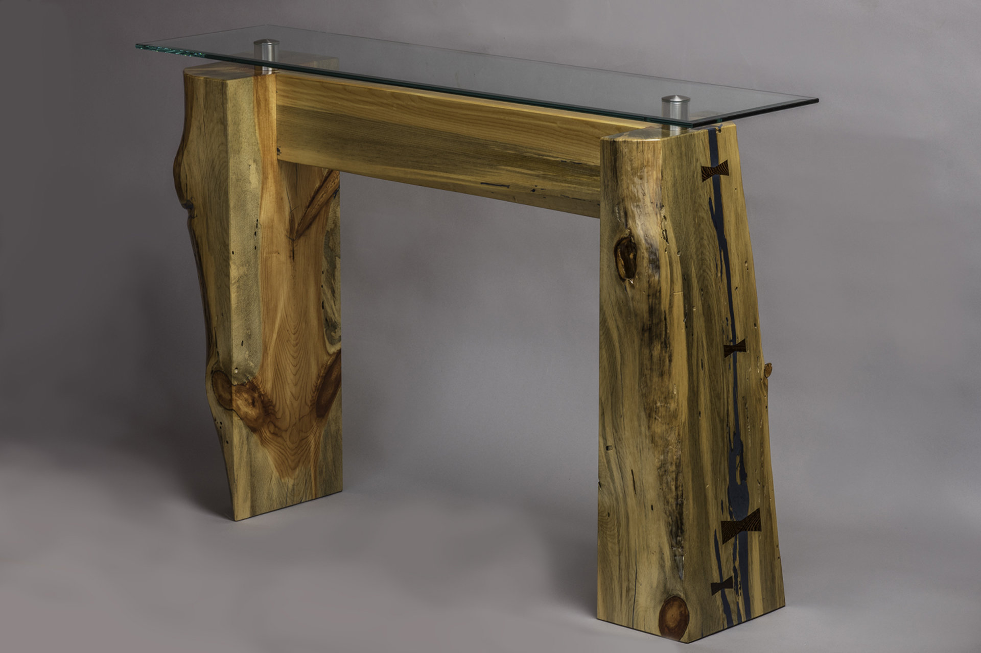 Divide Glass Top Console Table By Craig Demmon Wood Console Table