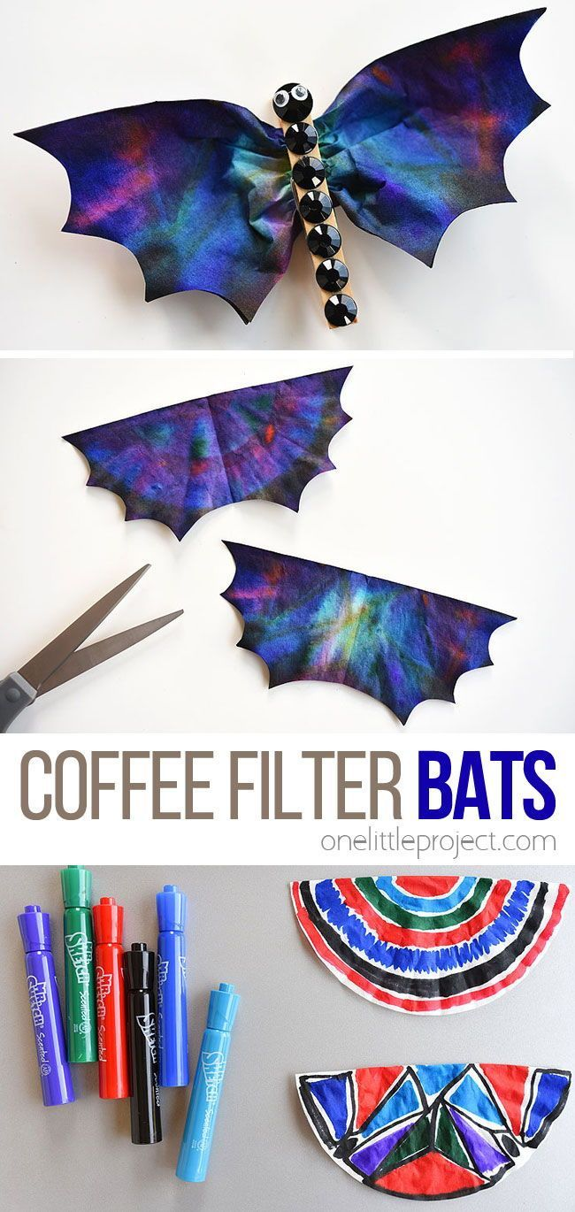 Photo of Coffee Filter Bats | Using Mr. Sketch Markers and Black Rhinestones