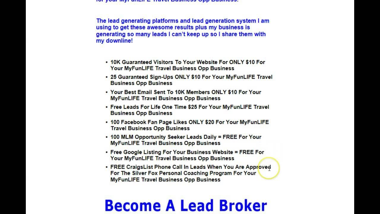 MyFunLIFE Leads | MyFunLIFE Travel Business Opp Leads Generate Free ...