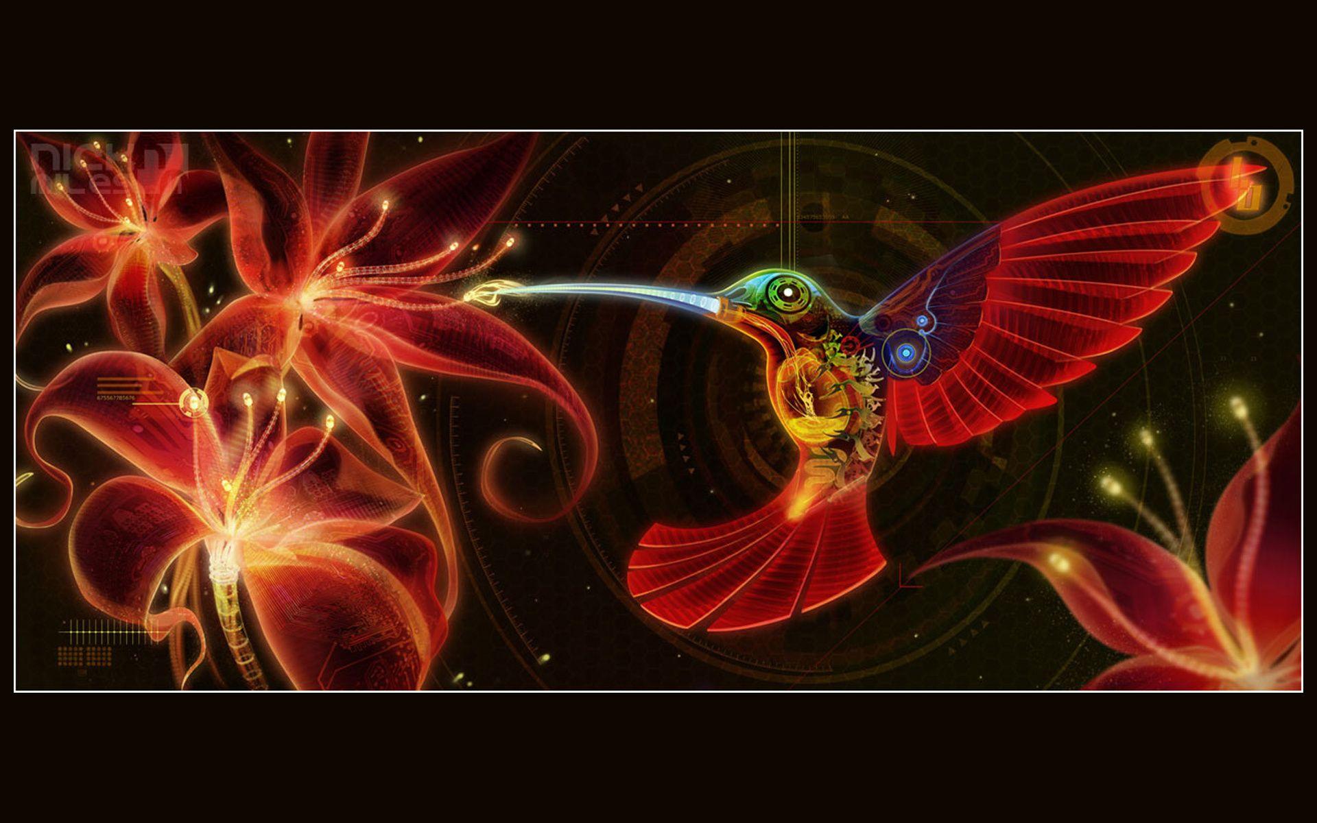 Abstract Hummingbird Art