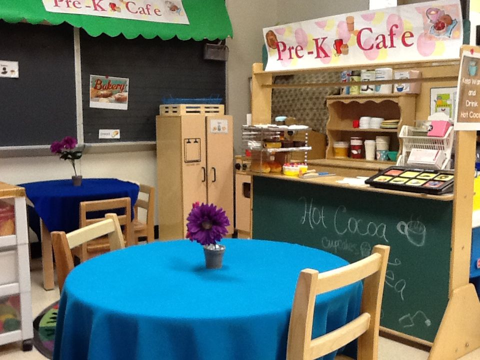 My classroom cafe for our restaurant theme play spaces