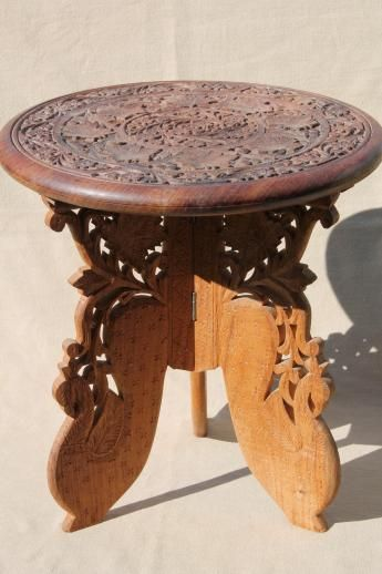 Hand Carved Indian Sheesham Wood Table W/ Folding Stand, Retro Boho Hippie  Vintage