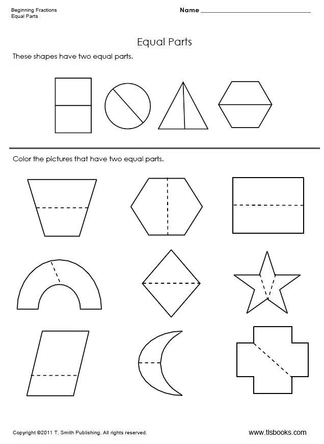 Kindergarten Math Fractions Halves Color Half Shapes Tools for – Fractions Worksheets for Kindergarten