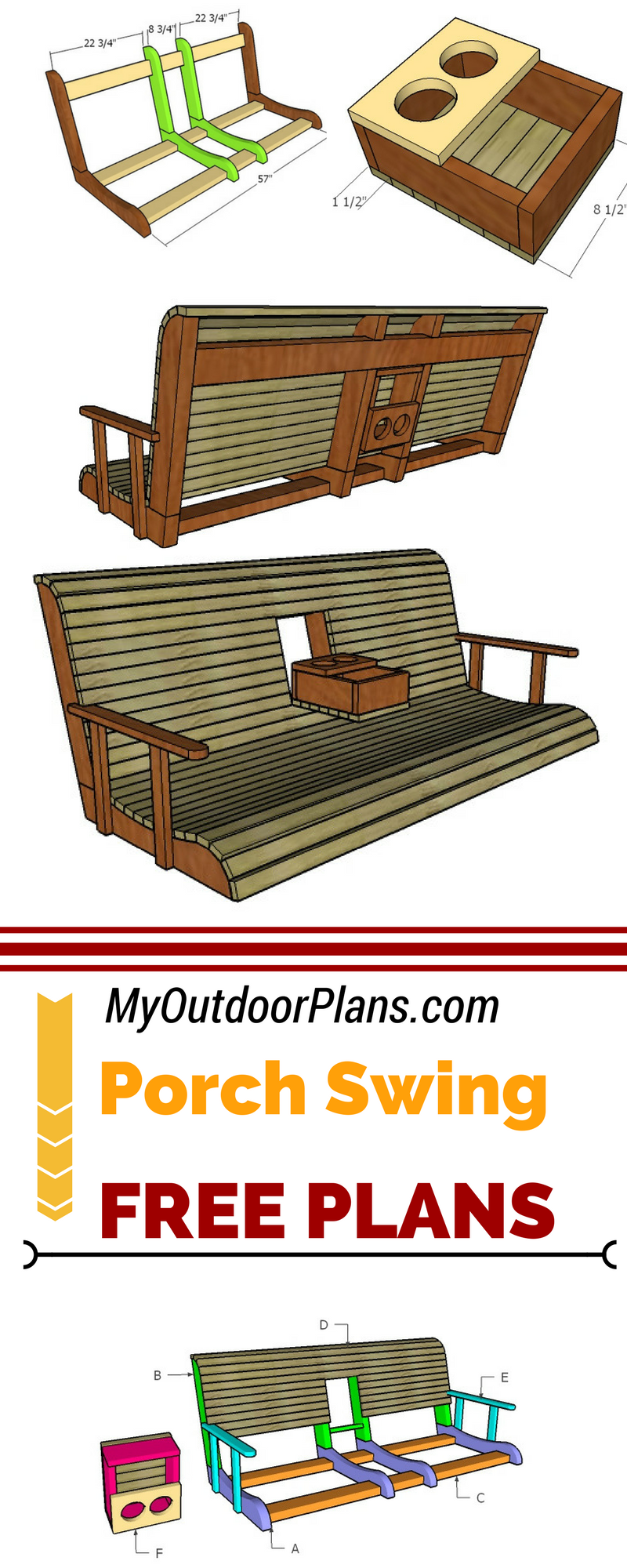 Porch Swing With Center Console Plans Carpentry Projects