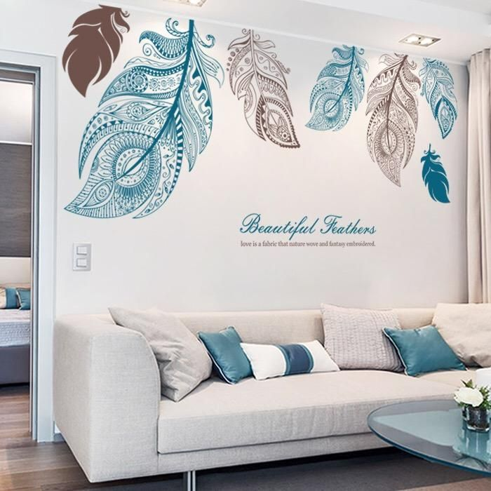 Large Feathers Wall Decals Feather Wall Decal Wall Stickers Living Room Turquoise Living Room Decor