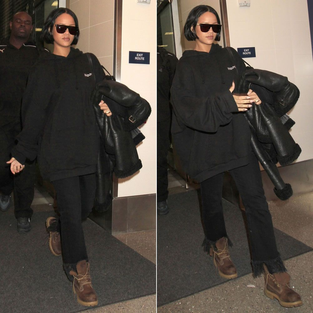 aacc736861af Rihanna In Vetements Black Embroidered Hoodie