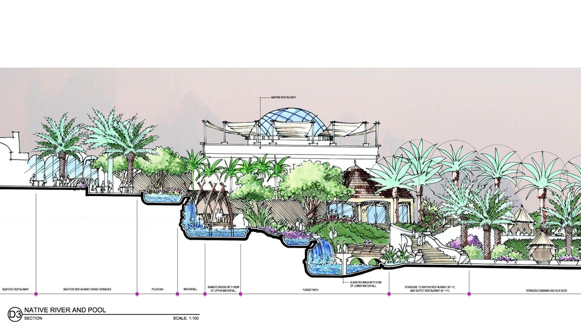 Resort Elevation Plan : Dinning room sectional elevation