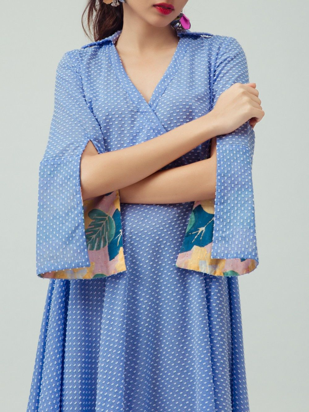 Buy Blue White Printed Cotton Dress Online At Theloom Sleeves