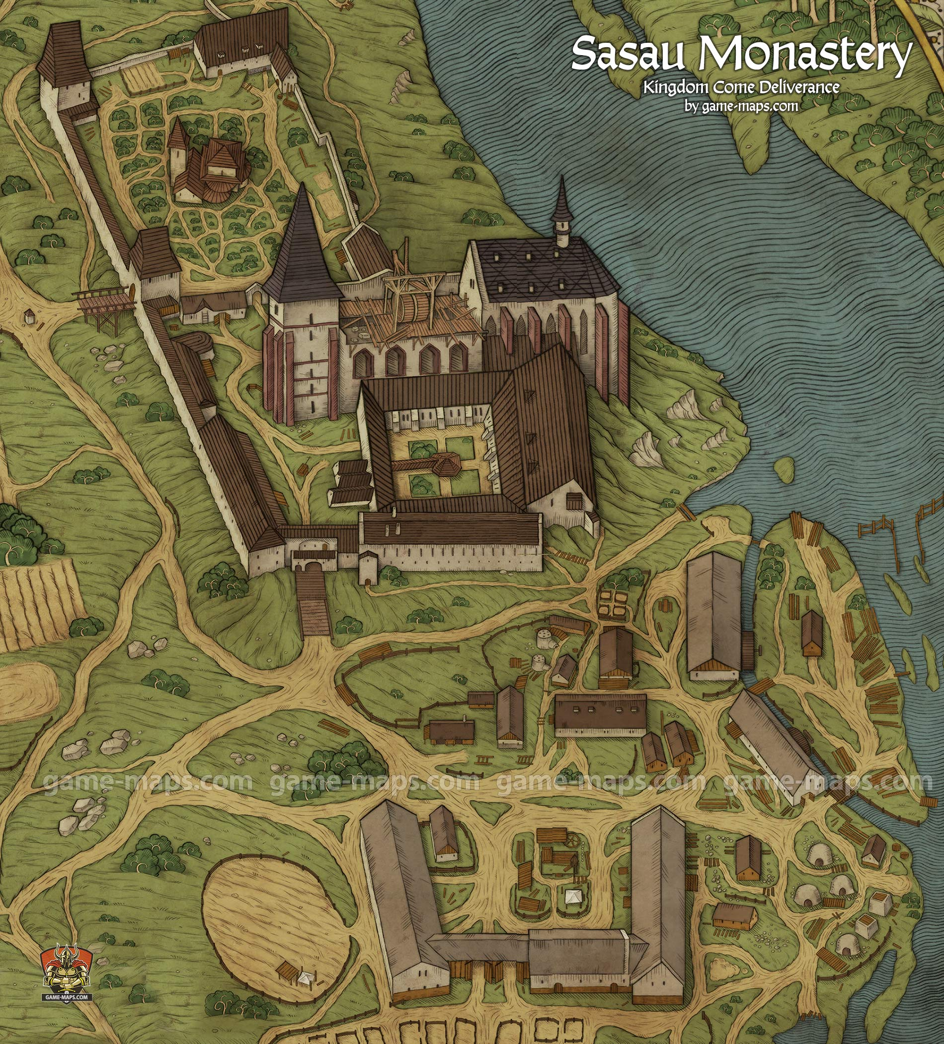 Sasau Monastery Map for Kingdom Come Deliverance | Map in 2019 | Map