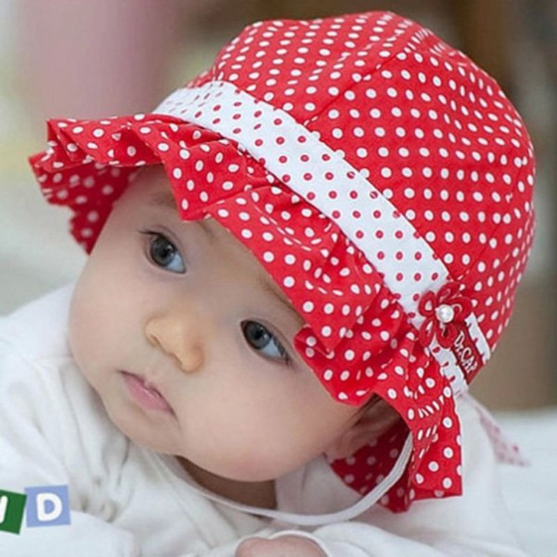 f4ca30bbc57 Kids Toddlers Baby Girls Sun Hat Polka Dot Flower Bucket Cap Bowknot Pearl  Hat