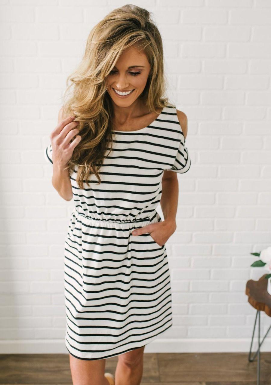 ec3198b52 Cold Shoulder Striped Dress - Off White Black
