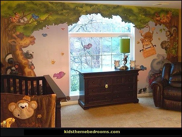 Baby Jungle Wall Murals Theme Nursery Decorating