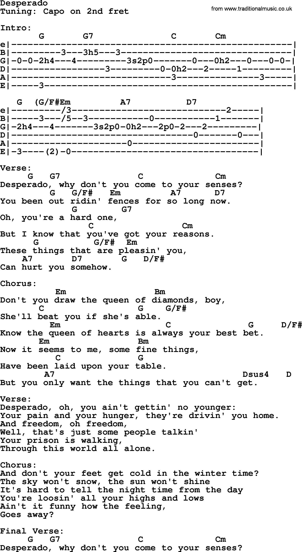 Johnny Cash Song Desperado Lyrics And Chords Lyrics For Life
