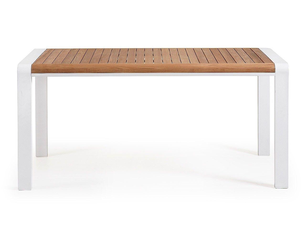 Un tavolo fisso con un piano in legno di teak che resiste all ...