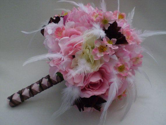CHOCOLATE CHERRY BLOSSOM Wedding Bouquet by Ardesign on Etsy, $110.00