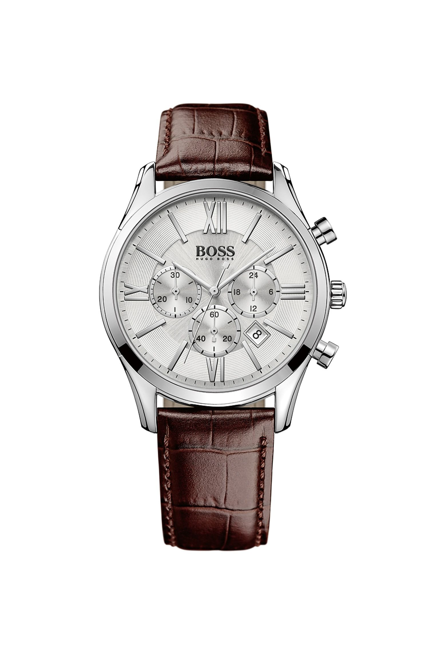hbambsr chronograph stainless steel leather strap quartz watch hbambsr chronograph stainless steel leather strap quartz watch hugo boss menchronographquartz