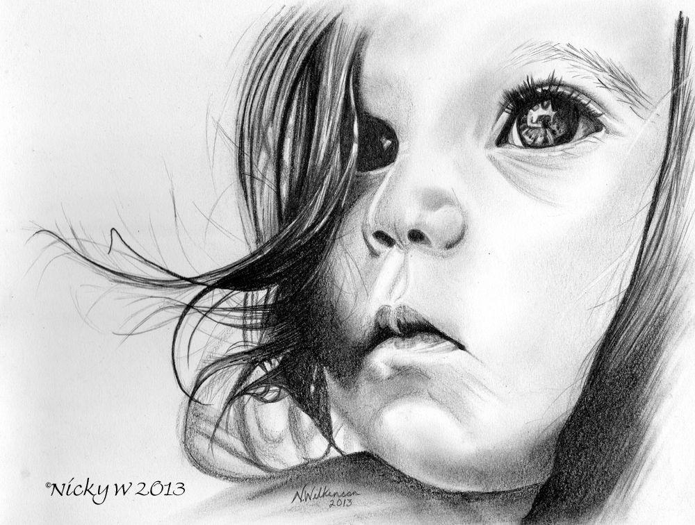 Graphite pencil drawing of a small child. | drawing in ...