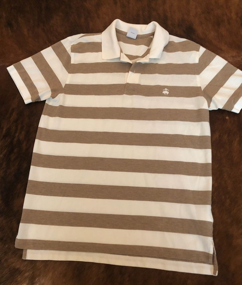 5a30ff0a Mens Brooks Brothers Beige Stripe Slim Polo Shirt Large Performance Knit  Golf #fashion #clothing #shoes #accessories #mensclothing #shirts (ebay  link)