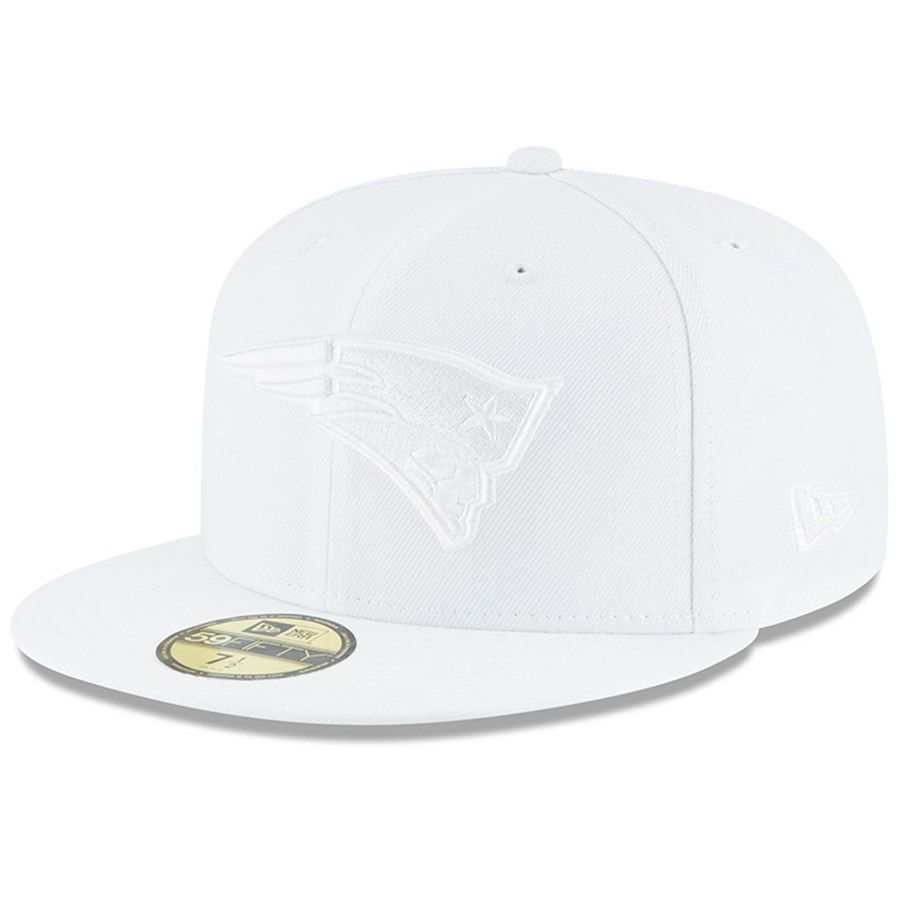 7e6c2587066ab Men s New England Patriots New Era White on White 59FIFTY Fitted Hat ...