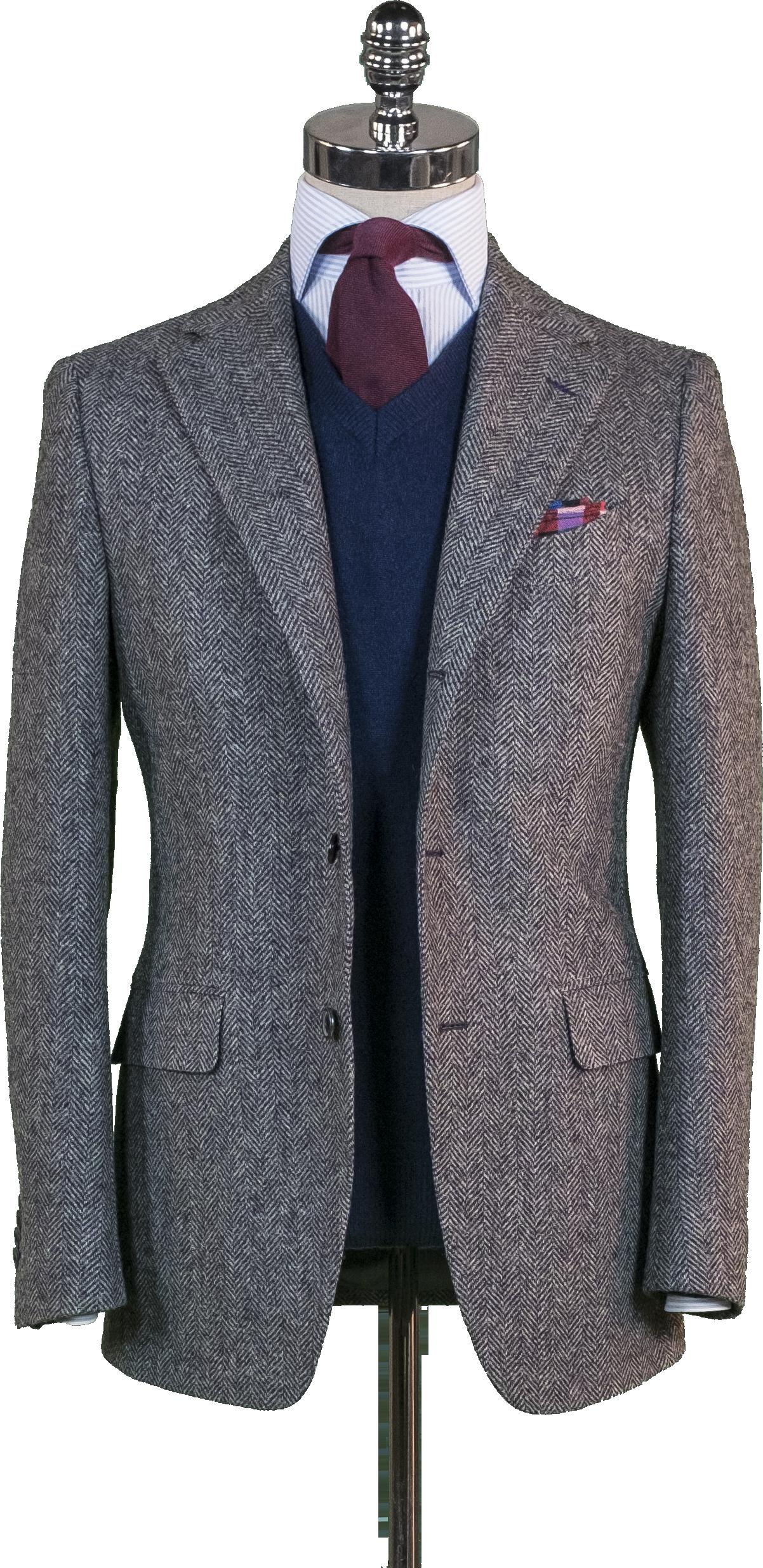 b791133d0ec Grey Herringbone Tweed Sport Coat - Beckett   Robb