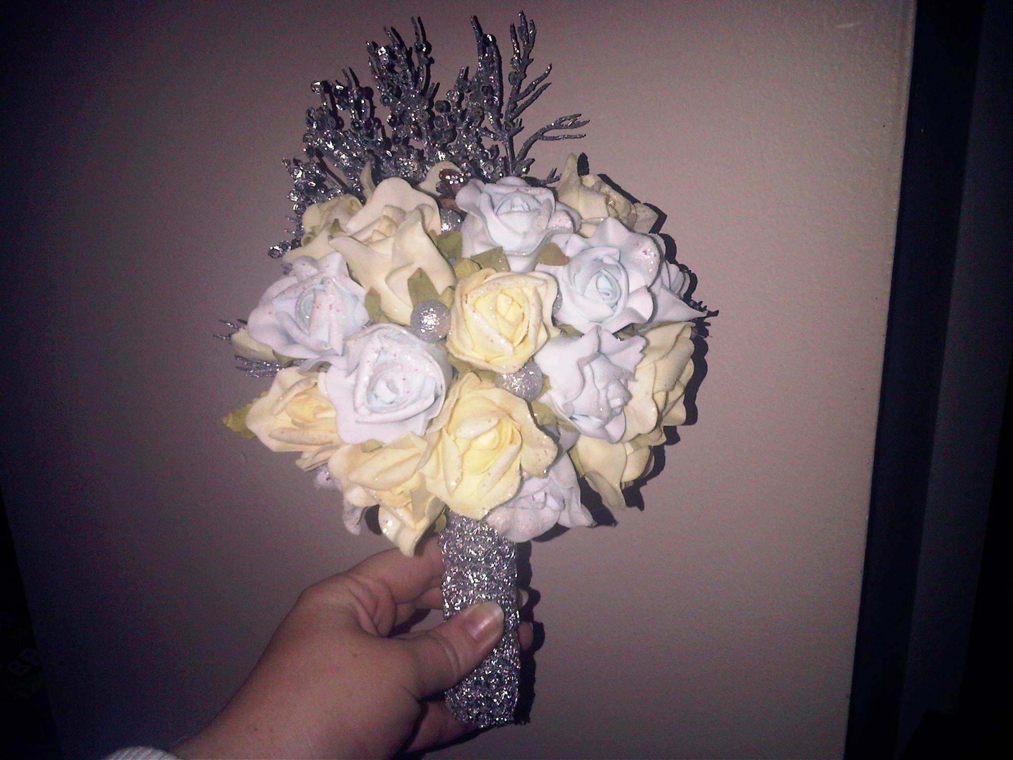Brides Maid Bouquet Foam Flowers Silk Flowers Pine Cones Silver