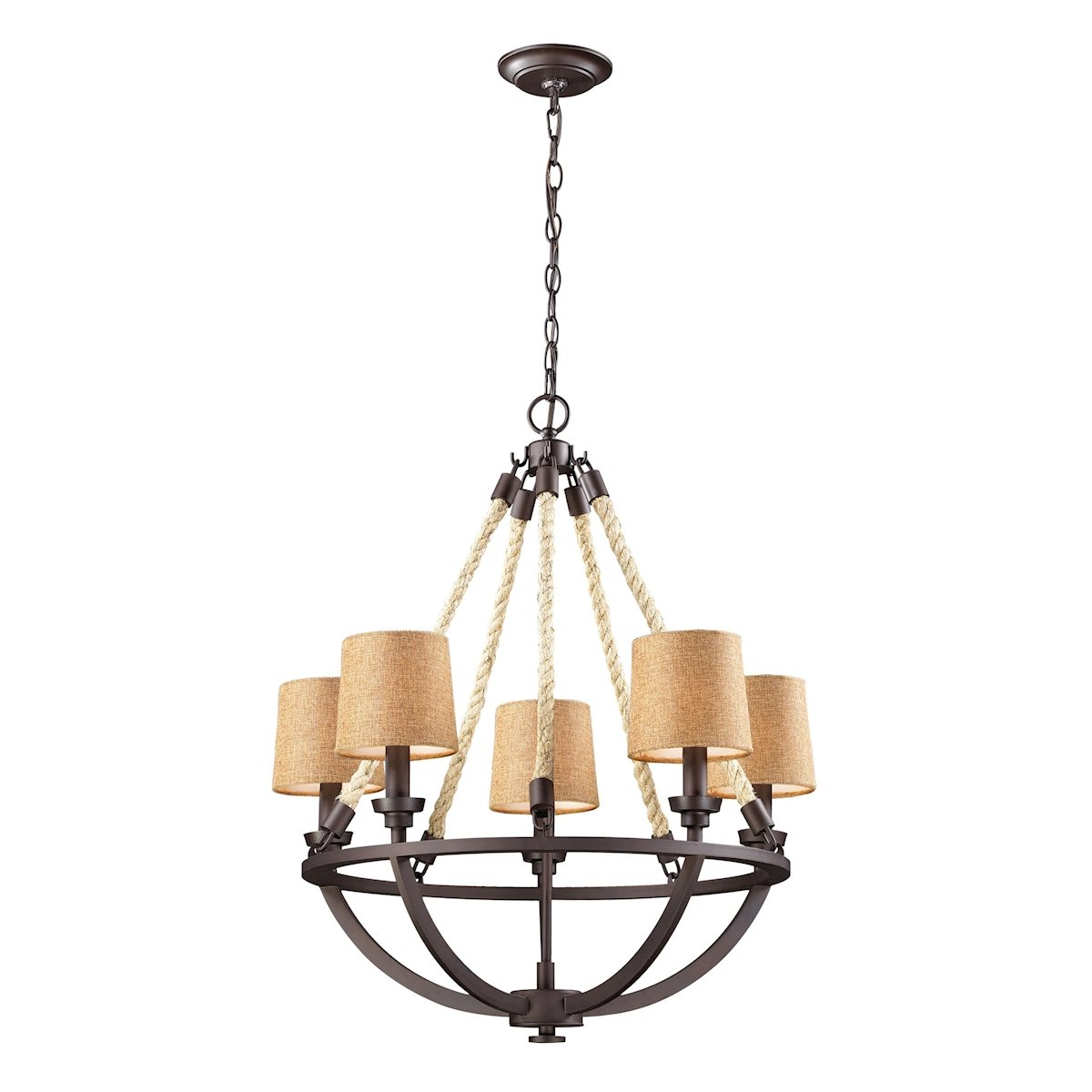 natural rope 5 light chandelier in aged bronze by elk lighting group