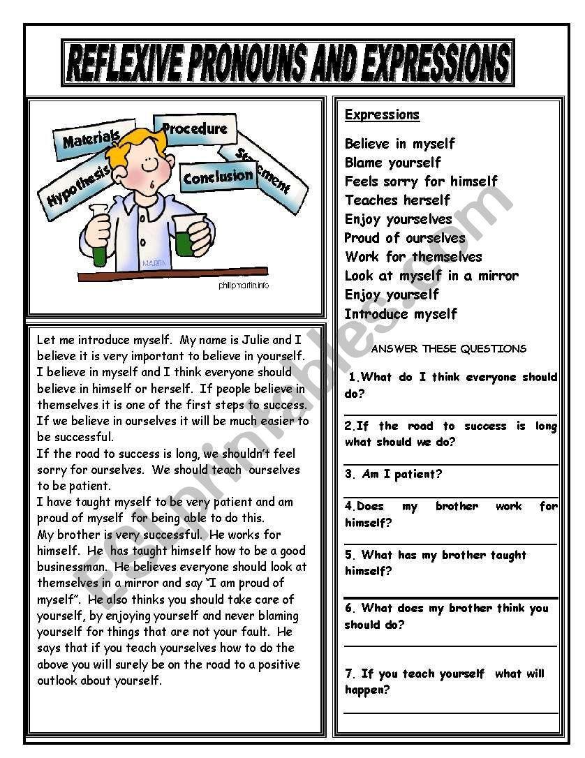 Reflexive Pronouns And Expressions Esl Worksheet By Giovanni Reflexive Pronoun Pronoun Grammar Worksheets [ 1086 x 838 Pixel ]