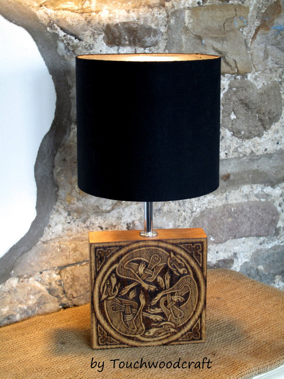 Unique Celtic Table Lamp Base Norse Viking Art Pagan Heathen Train Horn Wiring Diagram Larp Handcrafted Knot Odin Asatru Decor Gift By Touchwoodcraft