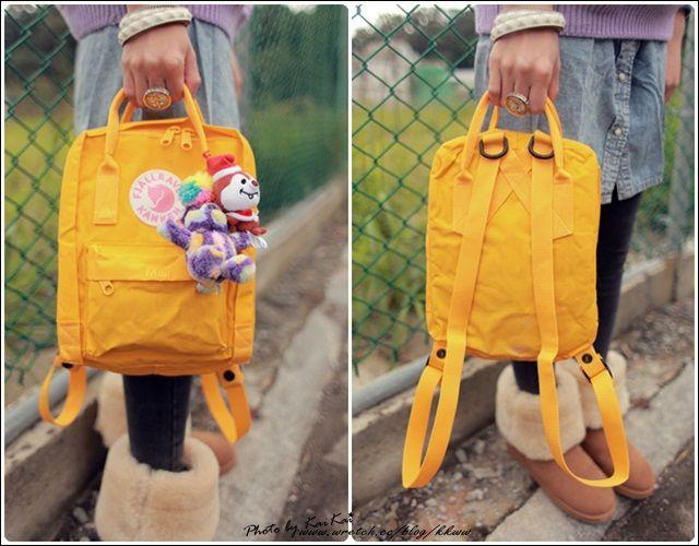 fjallraven kanken classic backpack in warm yellow