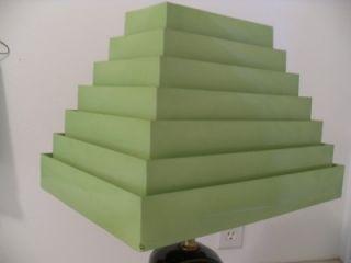 Folding Metal Rectangle 7 Tier Art Deco Lamp Shade Lime Vintage Near
