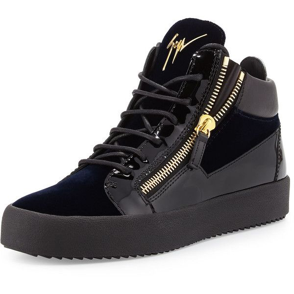 Giuseppe Zanotti Men's Velvet & Patent Leather Mid-Top Sneaker ($695) ❤ liked on Polyvore featuring men's fashion, men's shoes, men's sneakers, navy, mens flat shoes, mens navy shoes, navy blue mens shoes, mens velvet shoes and mens patent leather sneakers